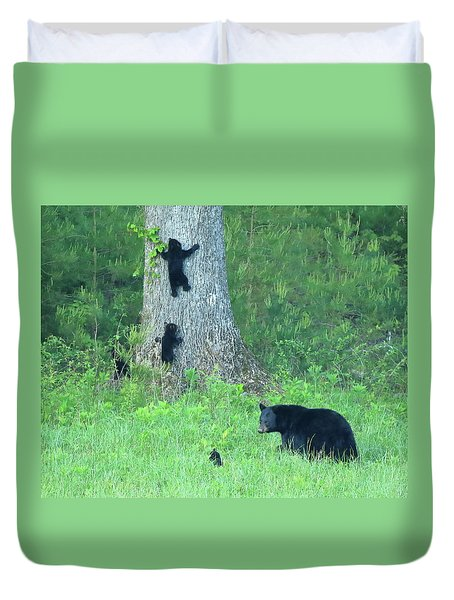 Black Bear Sow And Four Cubs Duvet Cover by Coby Cooper