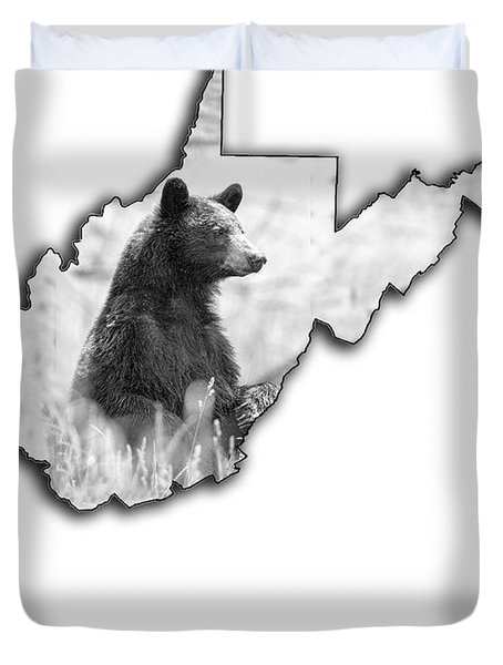 Black Bear Standing Duvet Cover
