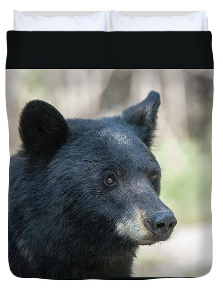 Duvet Cover featuring the photograph Black Bear Up Close by Stephen  Johnson