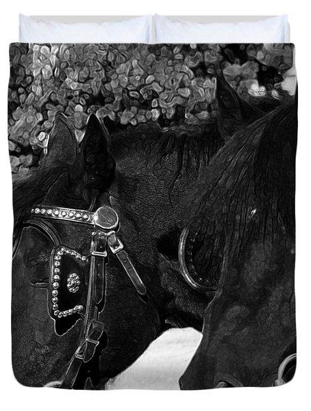 Black Beauties Duvet Cover by Stuart Turnbull