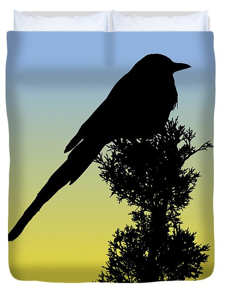 Black-billed Magpie Silhouette At Sunrise Duvet Cover