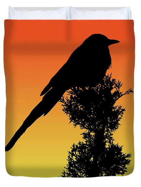 Black-billed Magpie Silhouette At Sunset Duvet Cover