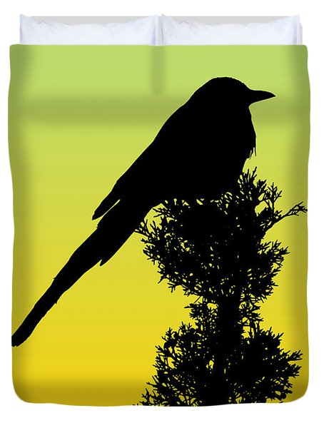 Black-billed Magpie Silhouette - Special Request Background Duvet Cover