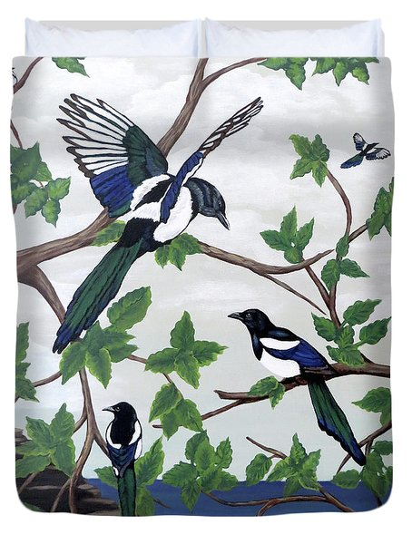 Duvet Cover featuring the painting Black Billed Magpies by Teresa Wing