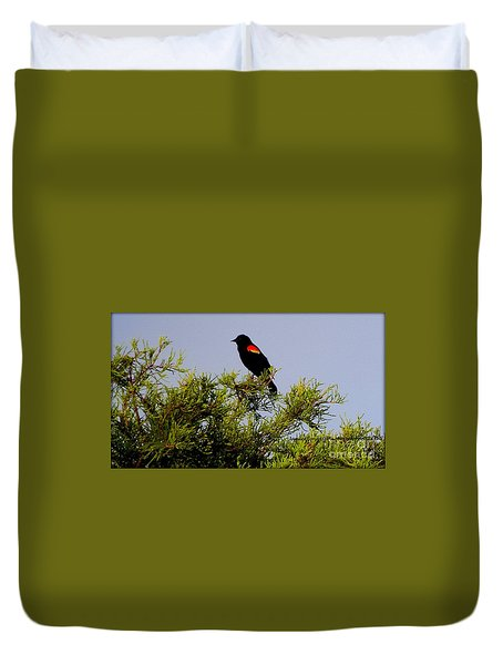Duvet Cover featuring the photograph Black Bird by Janice Spivey