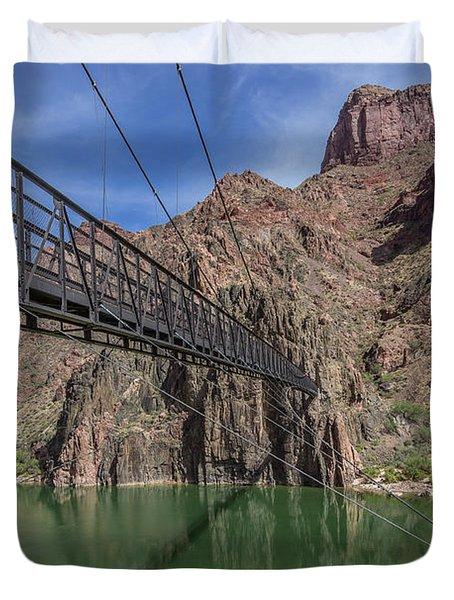 Black Bridge Over The Colorado River At Bottom Of Grand Canyon Duvet Cover