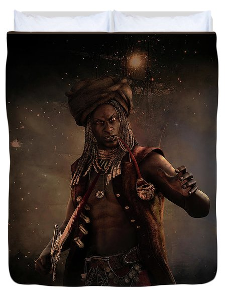 Duvet Cover featuring the digital art Black Caesar Pirate by Shanina Conway