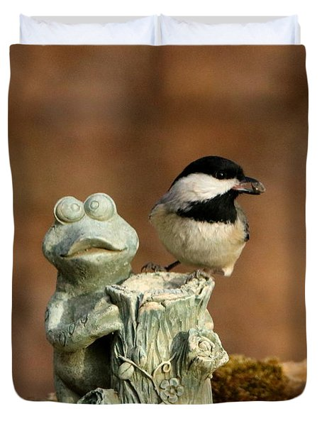 Black-capped Chickadee And Frog Duvet Cover