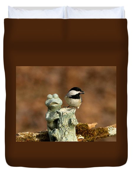 Black-capped Chickadee And Frog Duvet Cover by Sheila Brown
