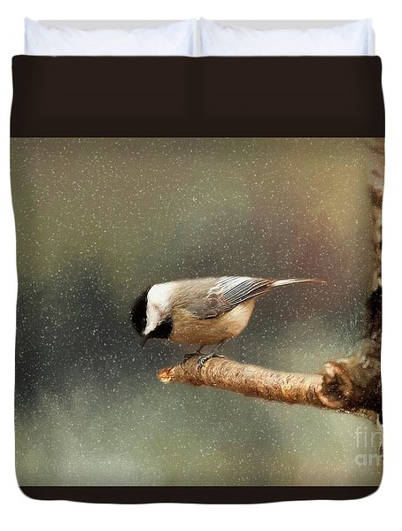 Duvet Cover featuring the photograph Black Capped Chickadee by Darren Fisher