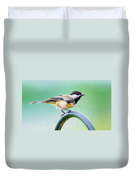 Duvet Cover featuring the mixed media Black-capped Chickadee Oil by Onyonet  Photo Studios