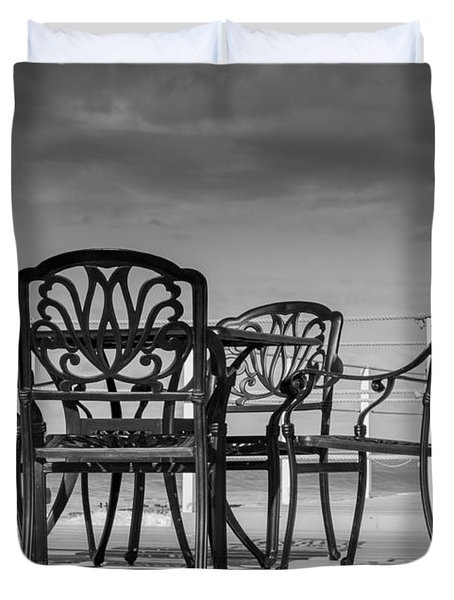 Black Cast Iron Seats Duvet Cover