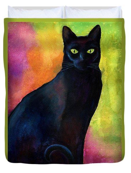 Black Cat 9 Watercolor Painting Duvet Cover