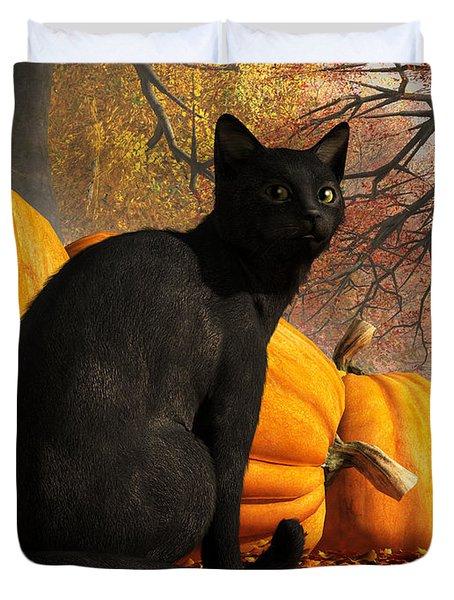 Black Cat At Halloween Duvet Cover