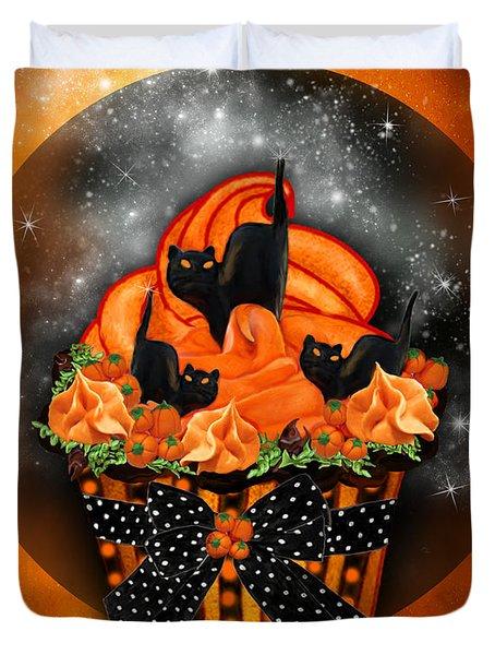 Black Cat Cupcake Duvet Cover by Carol Cavalaris