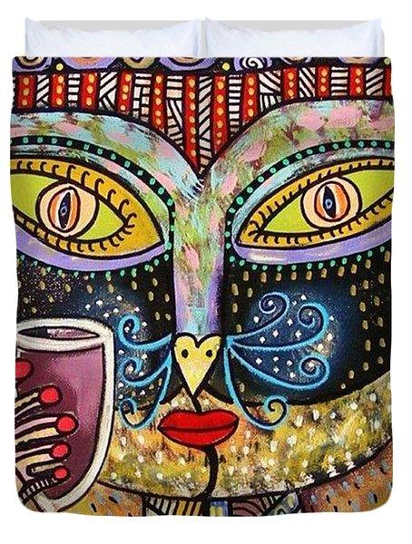 Black Cat Drinking Red Wine Duvet Cover by Sandra Silberzweig