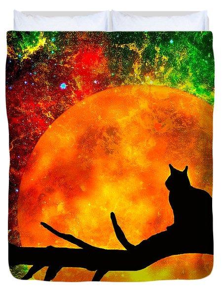 Black Cat Harvest Moon Duvet Cover
