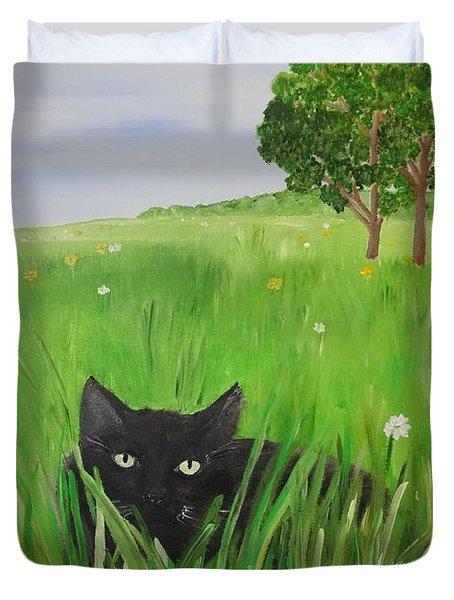 Black Cat In A Meadow Duvet Cover