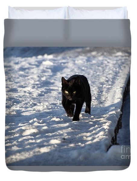 Black Cat In Snow Duvet Cover