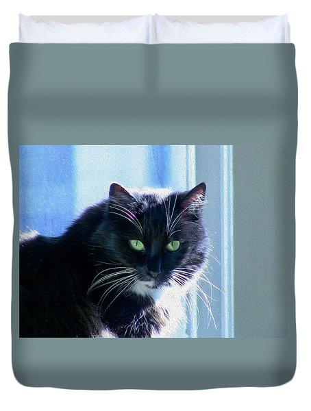 Black Cat In Sun Duvet Cover