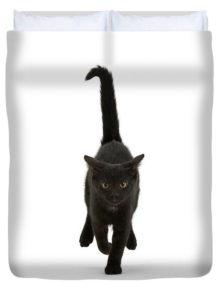 Black Cat On The Run Duvet Cover