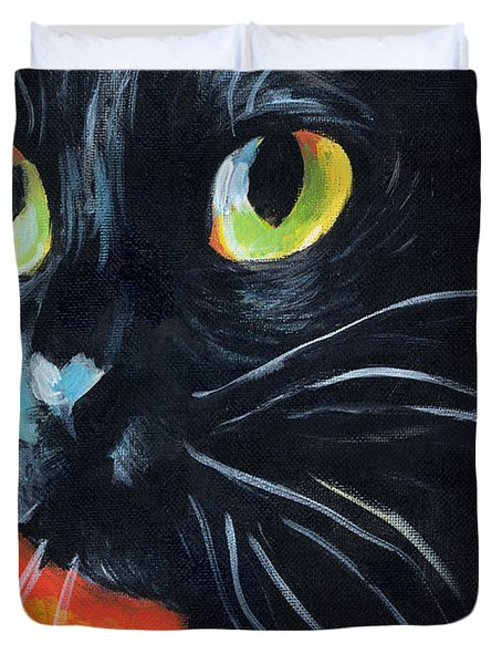 Black Cat Painting Portrait Duvet Cover