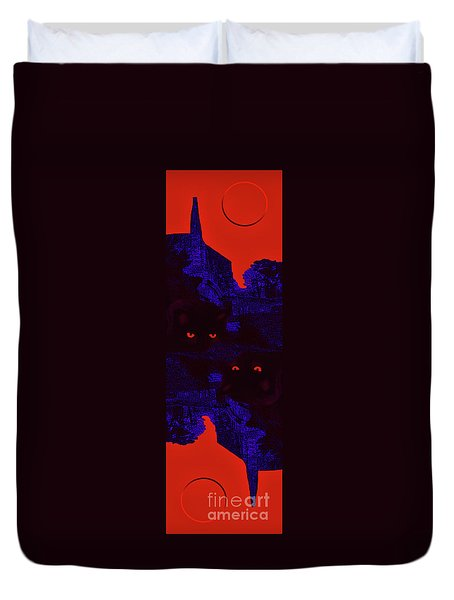 Black Cat Under A Blood Red Moon Duvet Cover