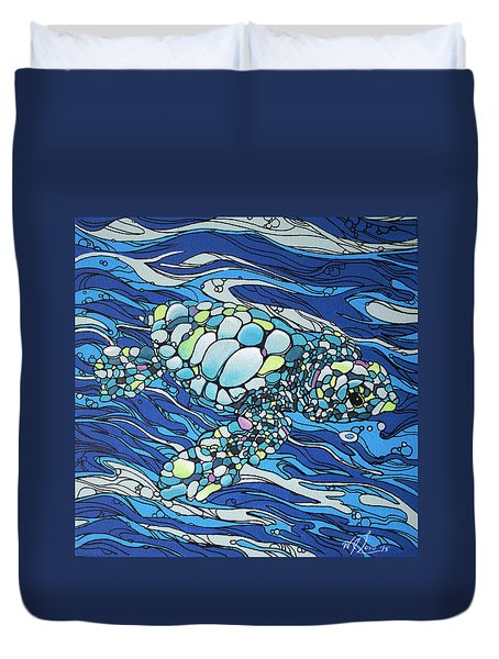 Black Contour Turtle Duvet Cover