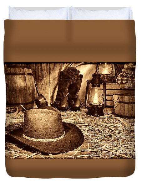Black Cowboy Hat In An Old Barn Duvet Cover