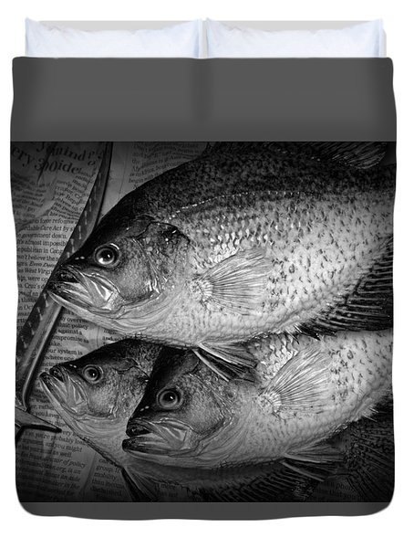 Black Crappie Panfish With Fish Filet Knife In Black And White Duvet Cover