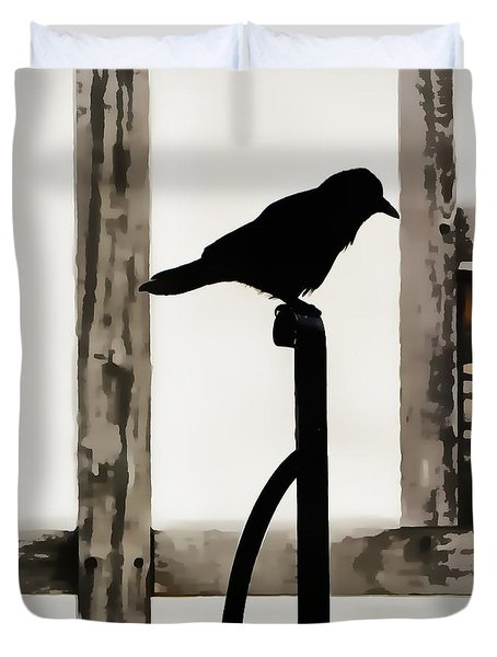 Black Crow At The Globe Theatre Duvet Cover