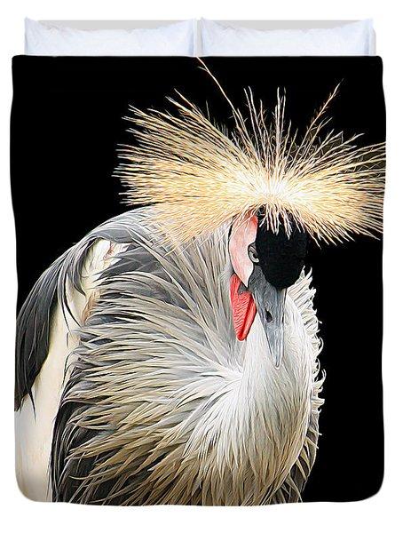 Black Crowned Crane Duvet Cover