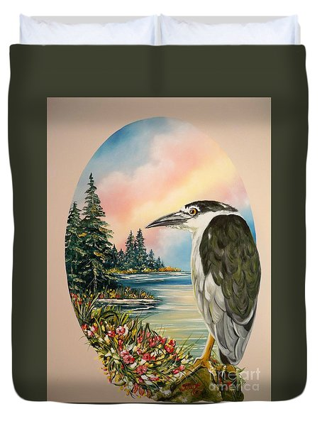 Flying Lamb Productions                     Black Crowned Heron Duvet Cover