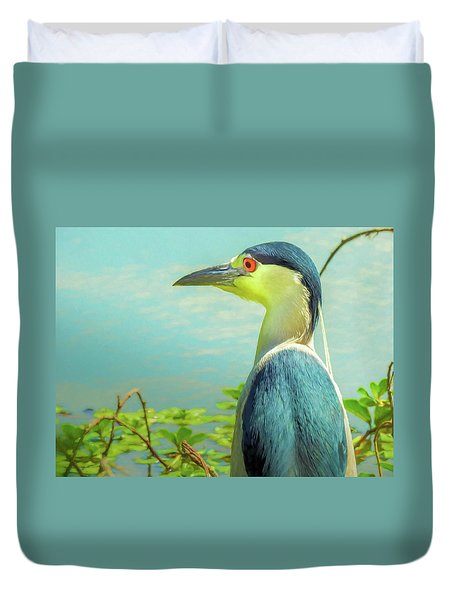 Black-crowned Night Heron Digital Art Duvet Cover