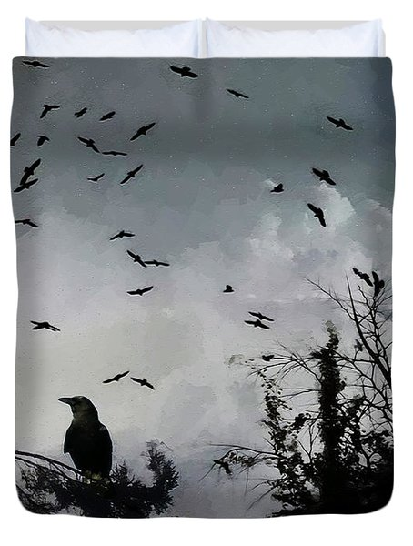 Black Crows  Duvet Cover