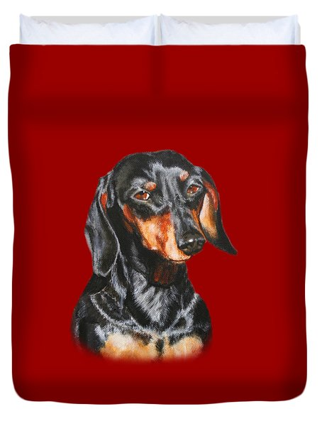 Black Dachshund Accessories Duvet Cover by Jimmie Bartlett