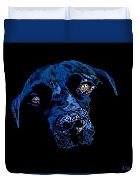 Duvet Cover featuring the painting Black Dog by Jann Paxton