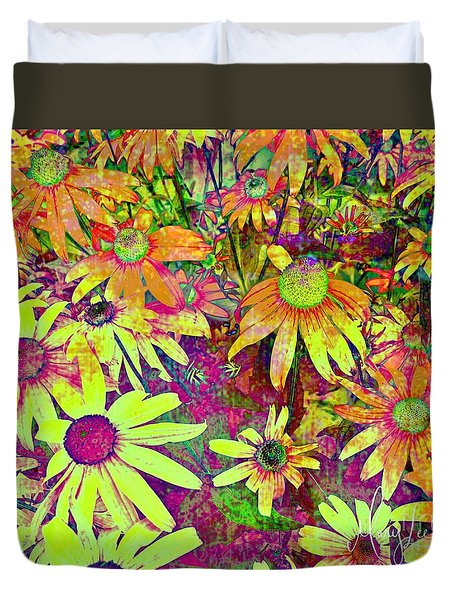 Black-eyed Susan   Abstract  Duvet Cover