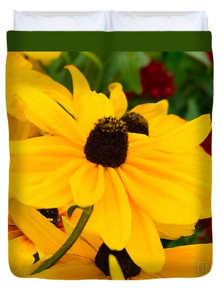Duvet Cover featuring the digital art Black-eyed Susan Floral by Mas Art Studio