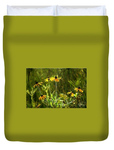 Duvet Cover featuring the photograph Black Eyed Susans In The Wild by Jim Vance