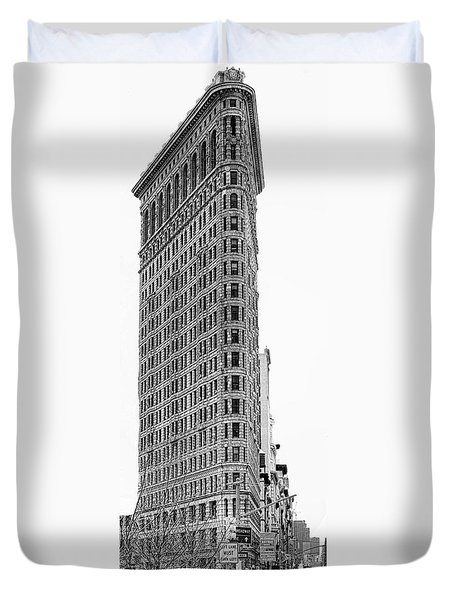 Black Flatiron Building II Duvet Cover