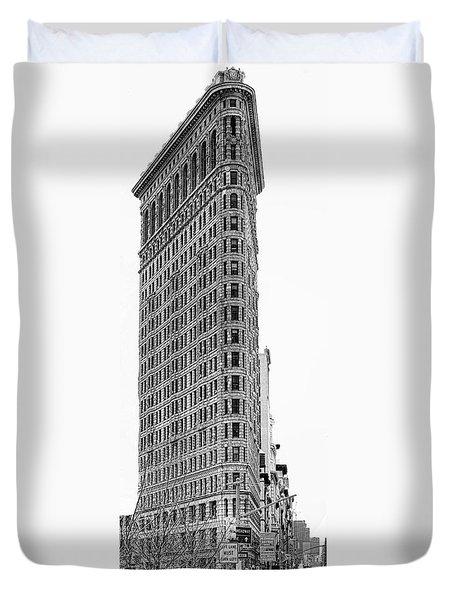 Black Flatiron Building II Duvet Cover by Chuck Kuhn