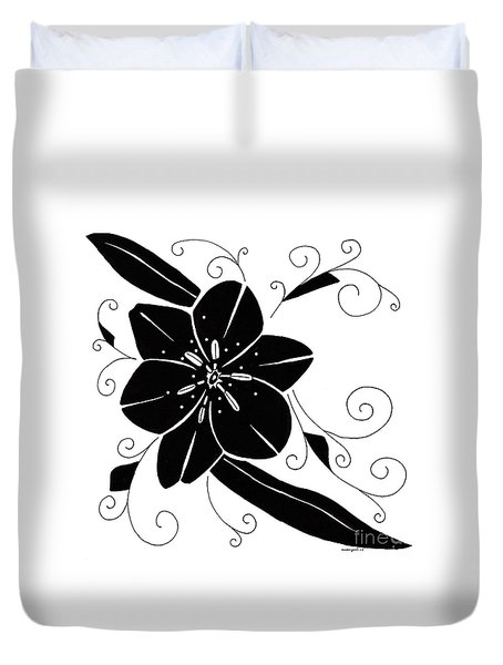 Black Flower Duvet Cover