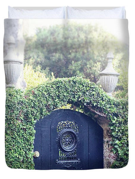 Black Garden Door Duvet Cover