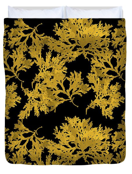 Duvet Cover featuring the mixed media Black Gold Leaf Pattern by Christina Rollo