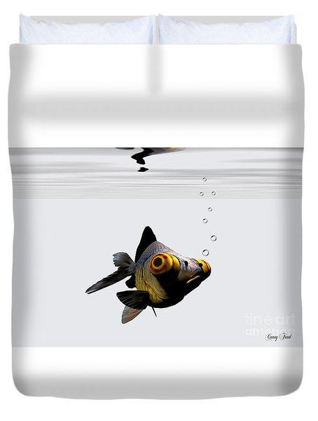 Black Goldfish Duvet Cover by Corey Ford