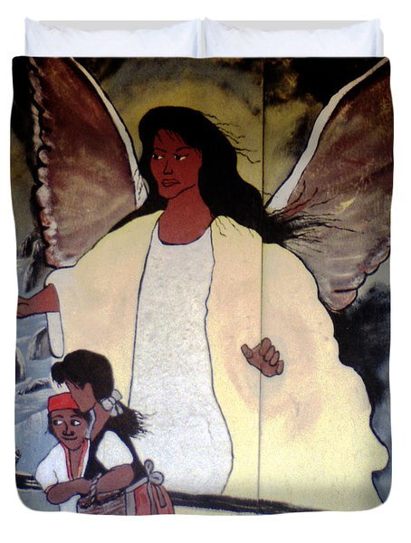 Black Guardian Angel Mural Duvet Cover