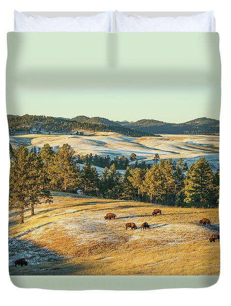 Black Hills Bison Before Sunset Duvet Cover by Bill Gabbert