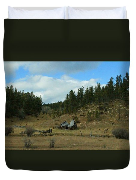 Black Hills Broken Down Cabin Duvet Cover