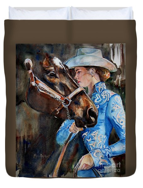 Black Horse And Cowgirl   Duvet Cover by Maria's Watercolor